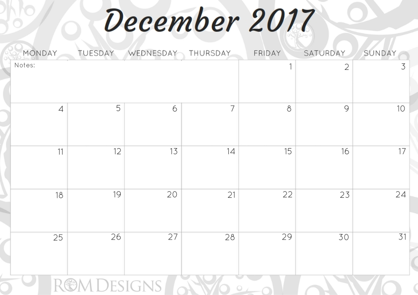 October 2017 Calendar and a Positive thought... - …