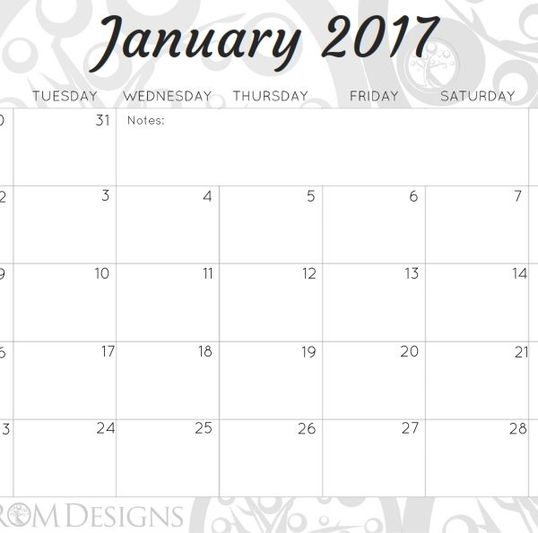A4 Monthly Calendar 2017 - Rom Designs